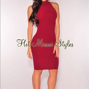 Burgundy Knit Ribbed Mock Neck Dress